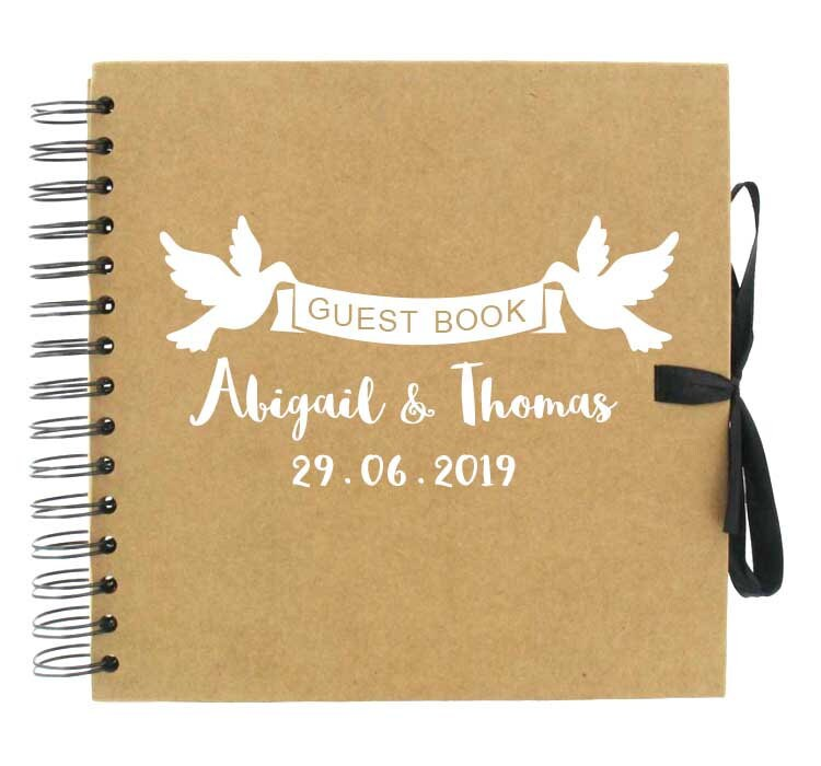 Dove Guest Book/Love Bird Weddings Hearts Lovebirds Guestbooks Custom Message Books Personalised Traditional Photo Album