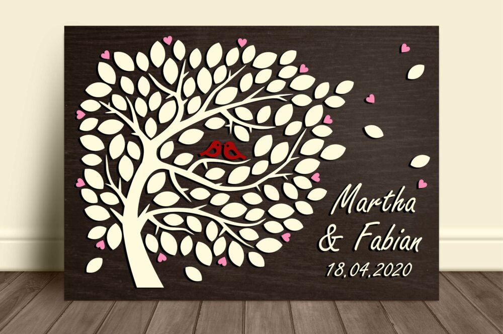 Personalized Wedding Guestbook Alternative 5Th Anniversary 3D Guestbook Wood Tree Guest Book Love Birds Rustic