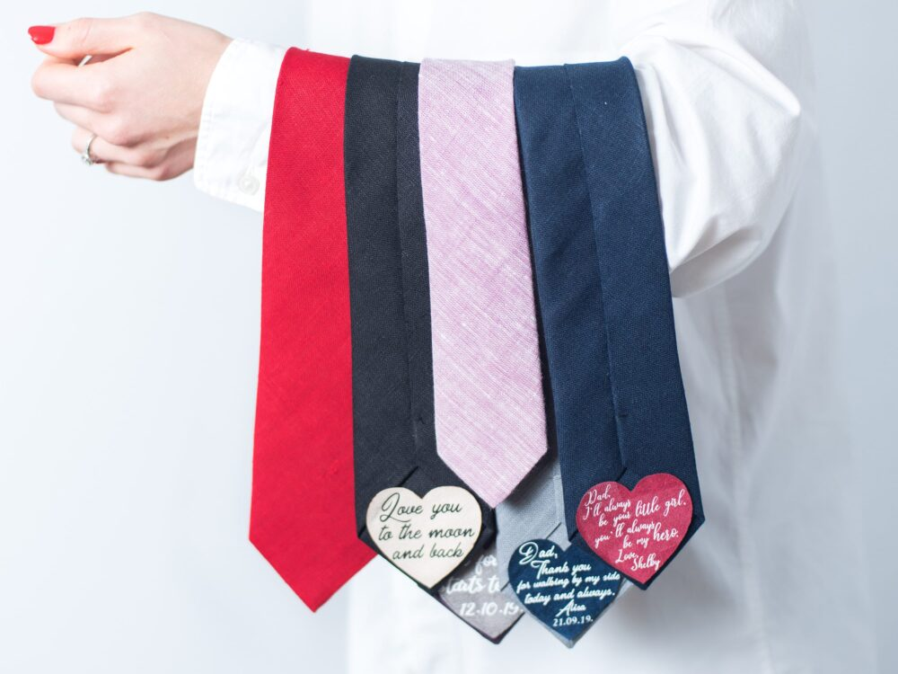 Father Of The Bride Gift Neck Tie With Heart Patch Thank You Dad