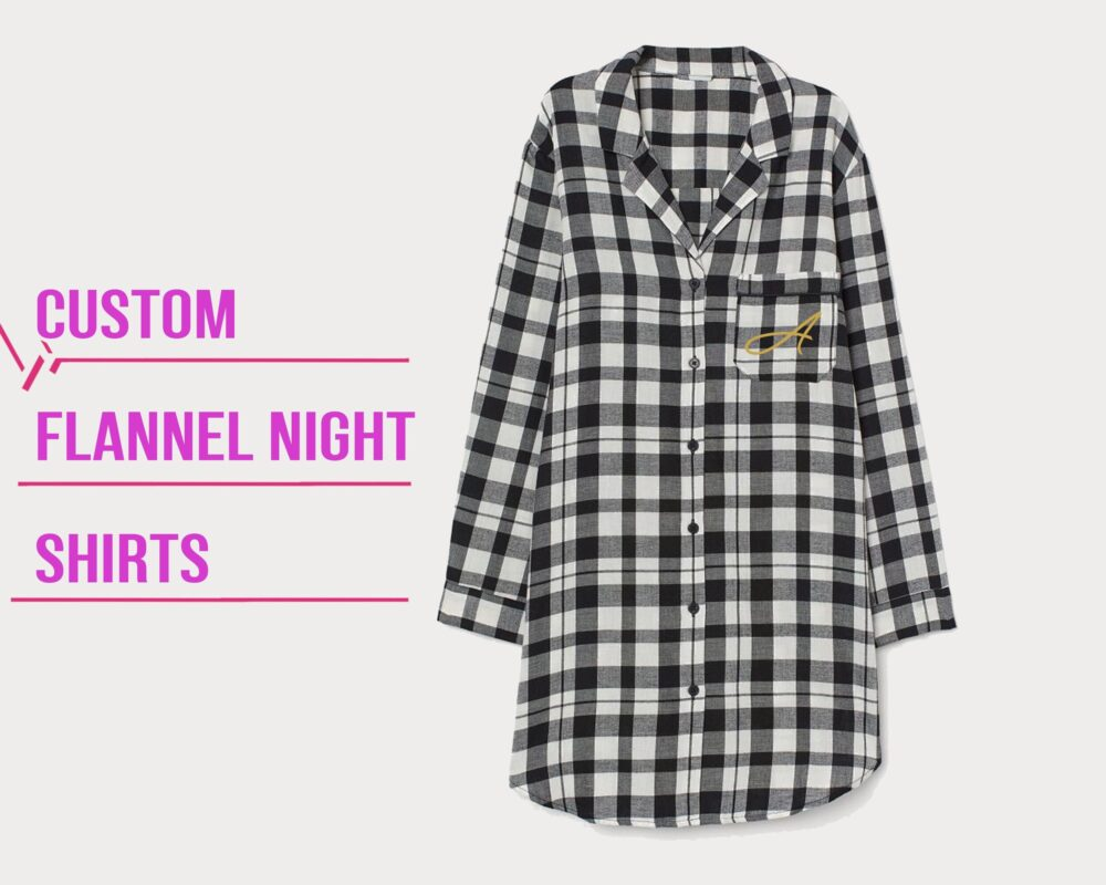 Bridesmaid Flannel Shirts Personalized Sleep Shirt Bridal Customized Night Ware Gift For Her Wedding