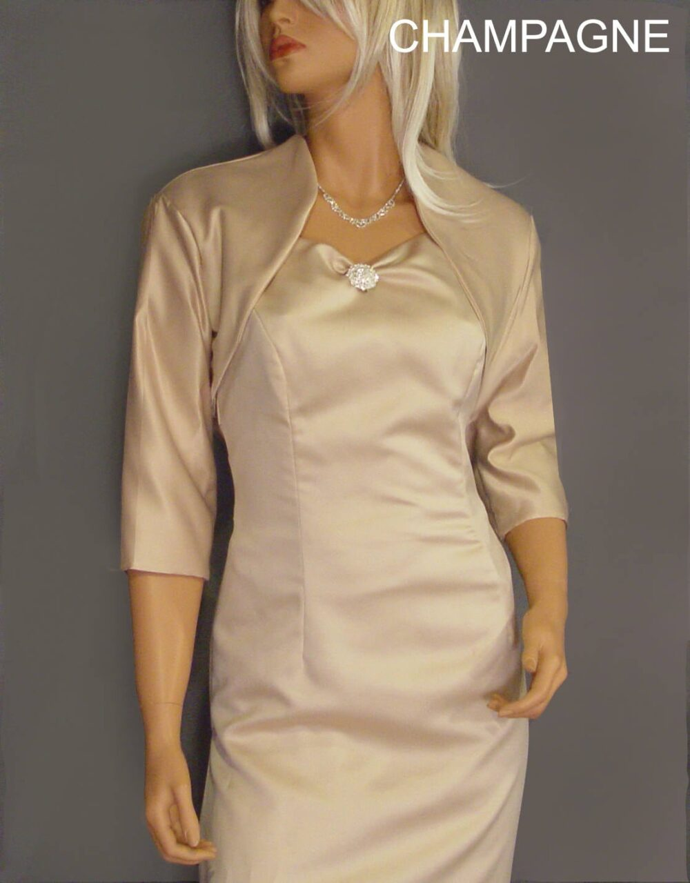 Satin Bridal Bolero Jacket Wedding Shrug Coat 3/4 Sleeve Cover Up Sba101 Available in Champagne & 5 Other Colors. Small Through Plus Size