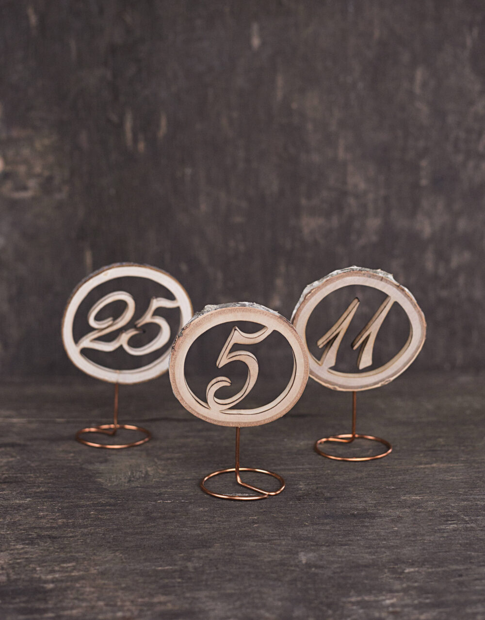 Wood Wedding Table Numbers, With Copper Stand, Rustic Number, Decor, Wooden Freestanding, From Wood Slice