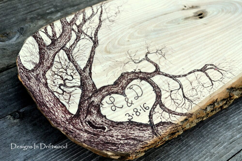 Large Wedding Guest Book Alternative - Rustic Wood Slice Personalized Unique Anniversary Reunion