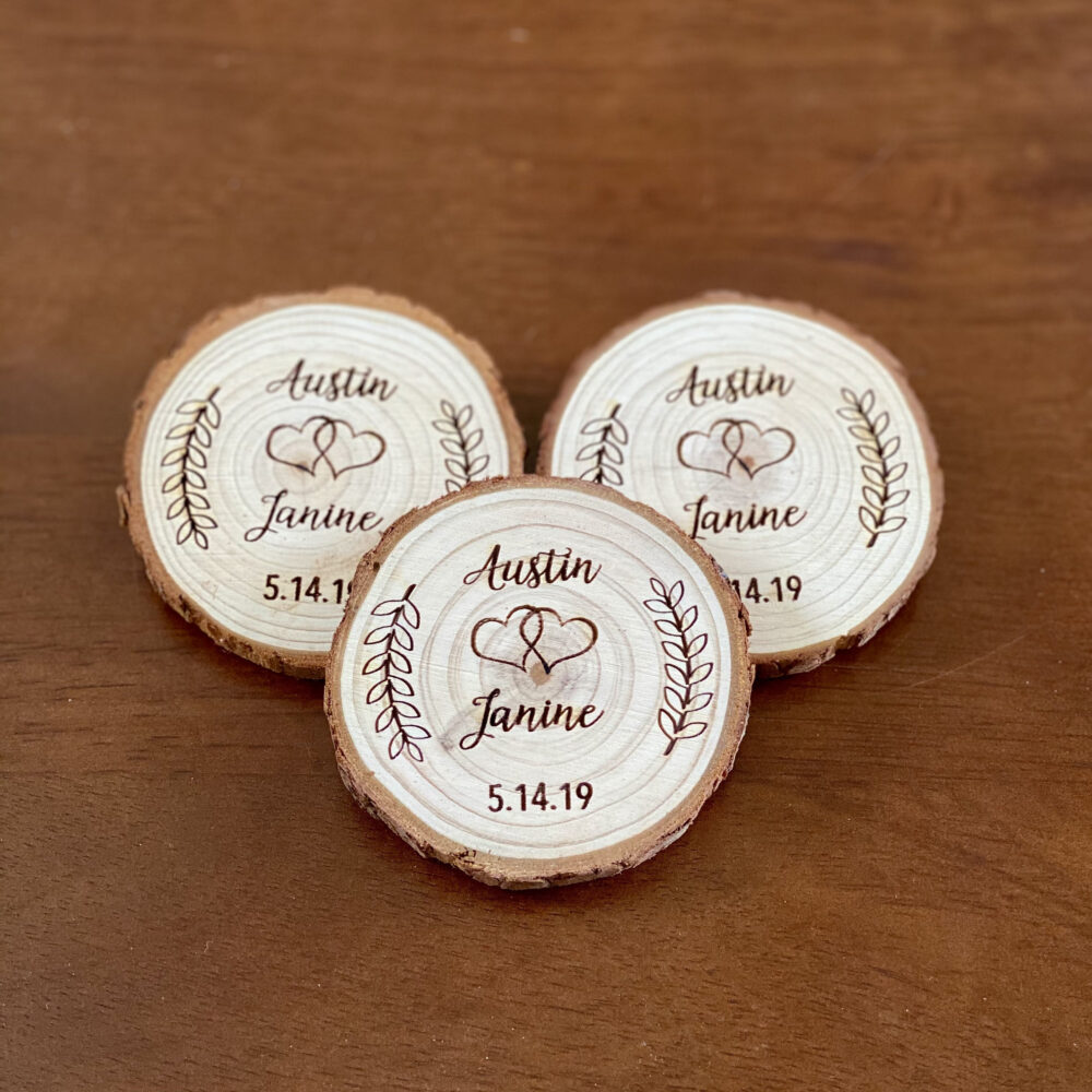 Custom Wood Slice Wedding Favor Or Save The Date - Laser Engraved With Names, Date, & Magnet