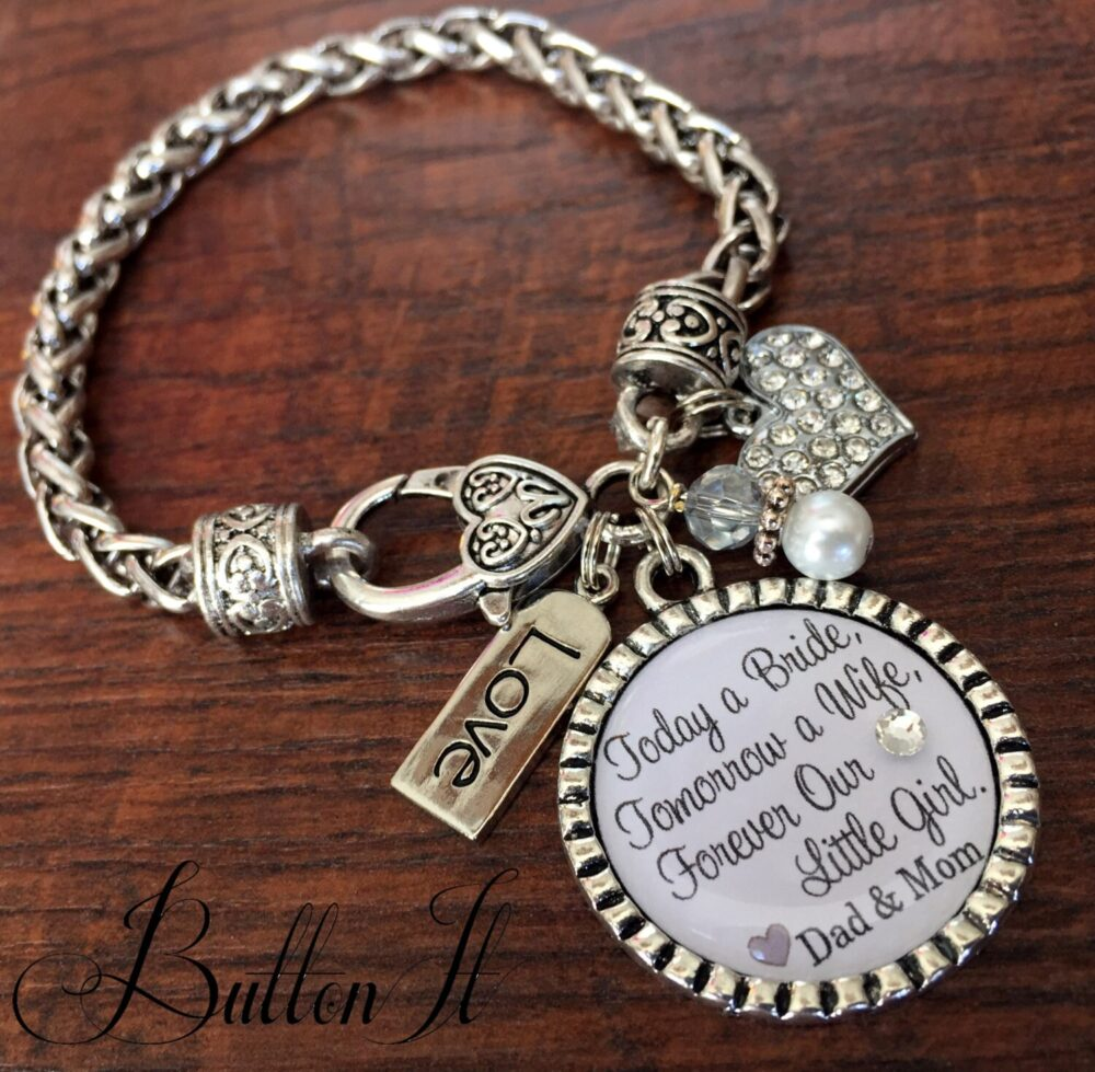 Daughter Wedding Gift, Personalized Wedding, Mother Daughter Jewelry, Gift For Bride From Mom, Daughter in Law, Charm Bracelet