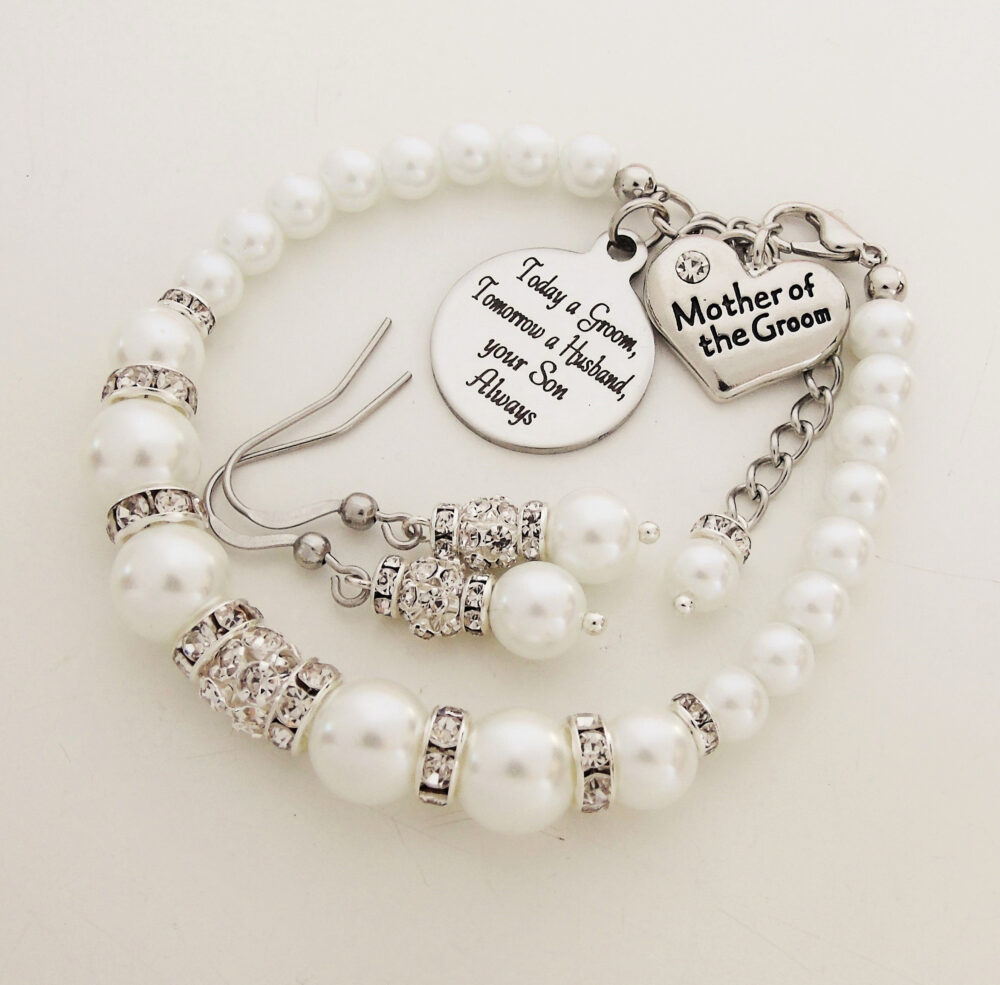 Mother Of The Groom Wedding Jewelry Bracelet & Earring Set , Gift From Groom To His Mother, Pearl