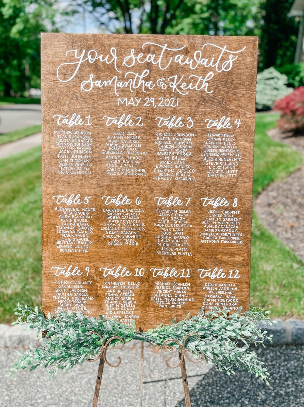 Wooden Seating Chart, Wedding Arrangements, Place Cards, Handlettered Rustic Chart