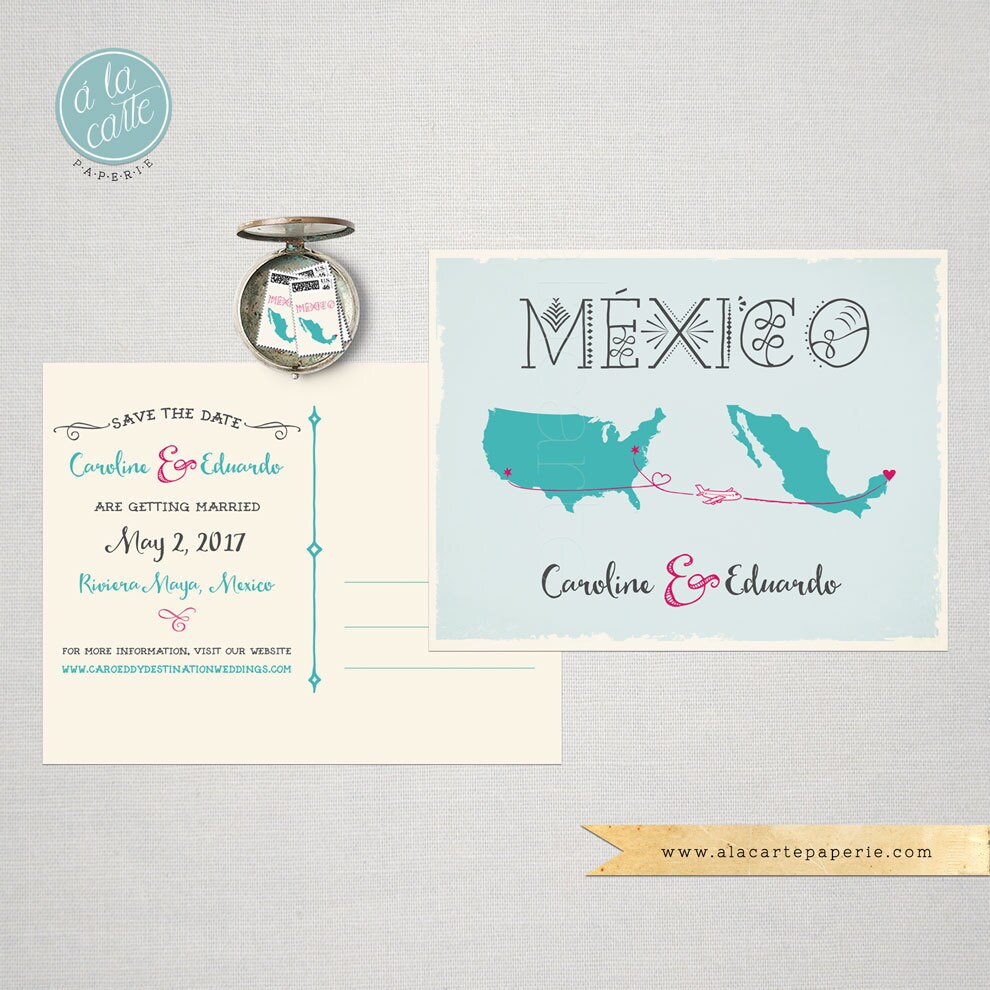 Destination Wedding Save The Date Card Usa Mexico Maps Airplanes Lines Decorative Mexican Blue Coral Pink Fuchsia Deposit Payment