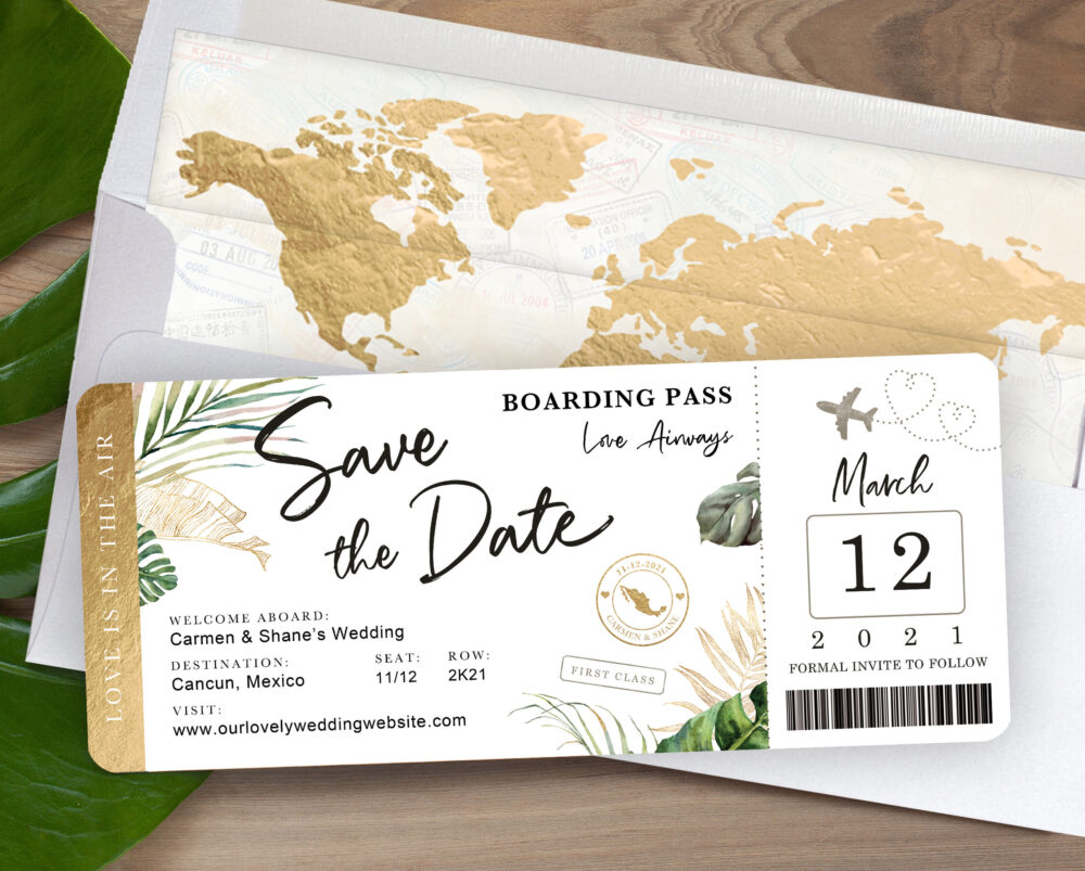 Destination Wedding Boarding Pass Save The Date Invitation Tropical Green Leaves Travel Theme By Luckyladypaper - See Item Details To Order
