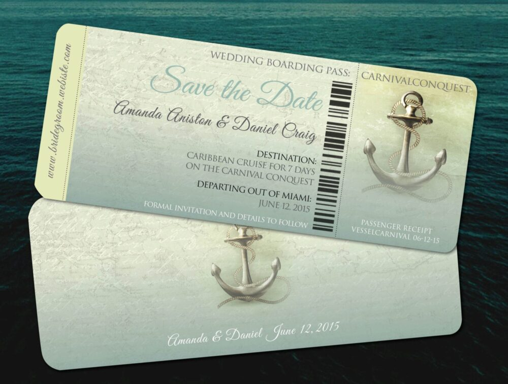Journey Cruise Wedding Boarding Passes, Save The Dates in Teal, Yacht, Ship Ceremony