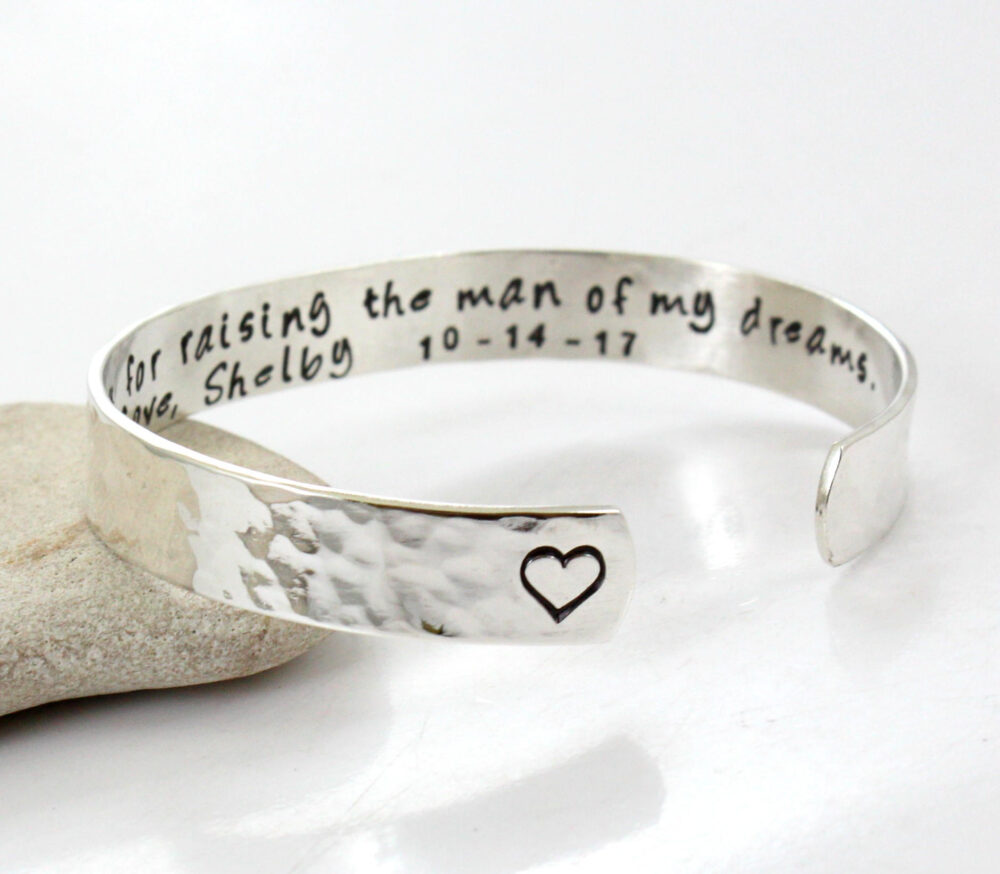 Wedding Cuff - Mother Of Groom- Personalized- Thank You For Raising The Man My Dreams Sterling Silver Bangle- Personalized Bracelet