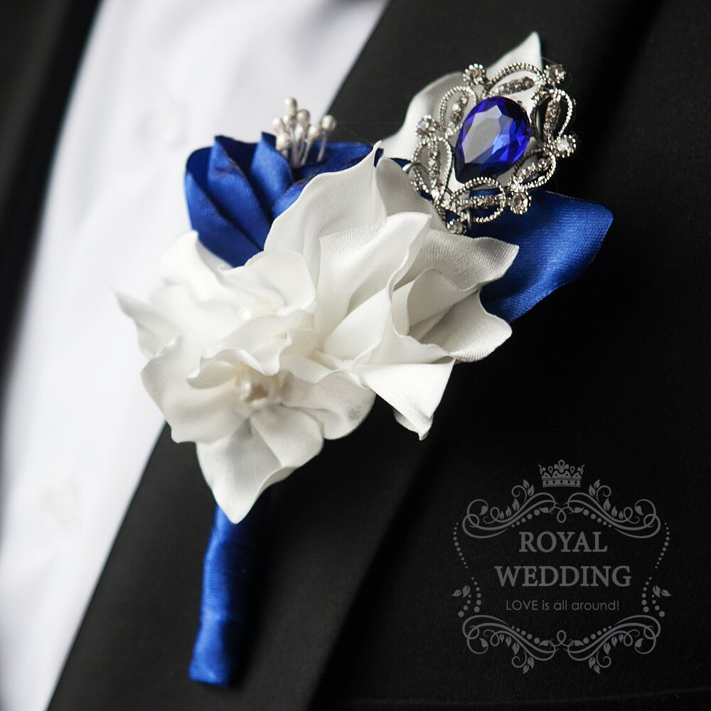 Wedding Boutonniere Buttonhole Boutonnieres Grooms Fabric Blue Silver