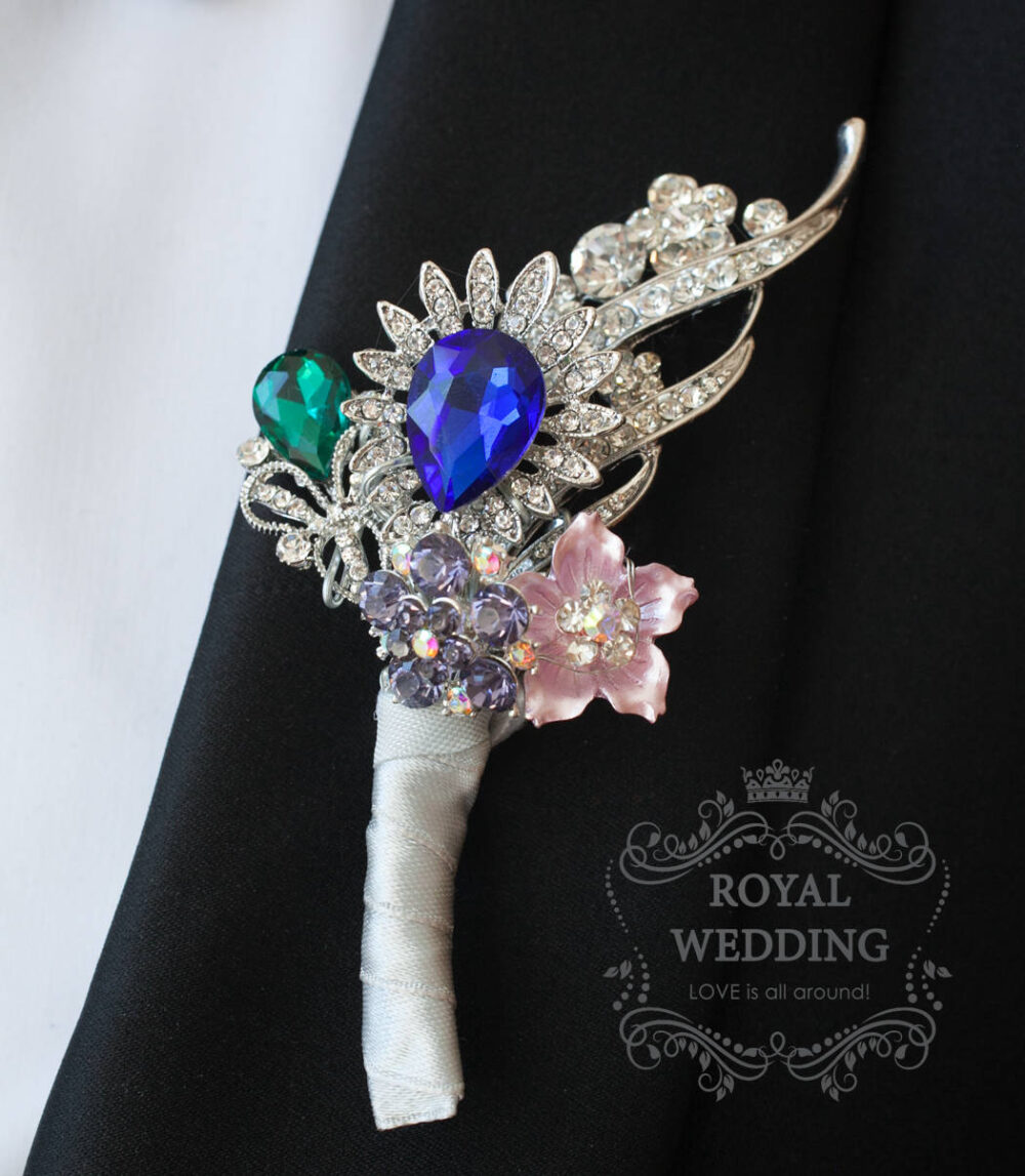 Wedding Boutonniere Buttonhole Boutonnieres Grooms Crystal Blue Silver Groomsman Pin