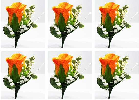 Orange Boutonnieres Wedding Boutonnieres, Flower Package Lapel Pin, Prom Boutonniere, Rose Silk Boutonniere