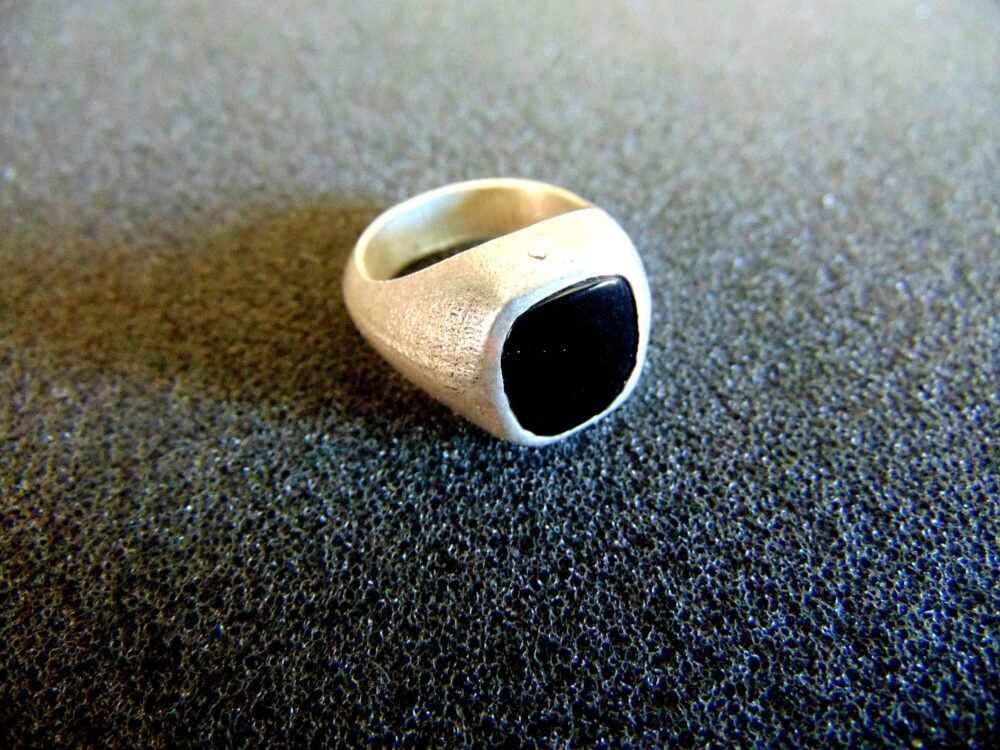 Mens Onyx Ring, Chevalier Pinky Signet Silver Gemstone Male Gents Ring