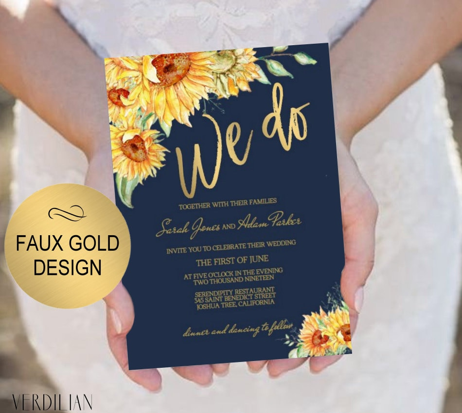 Diy Navy Gold Wedding Invitation Template -We Do Sunflower Invite 3 Piece-Diy Printable Invitations-Pdf-Download Instantly|Vrd151Awn