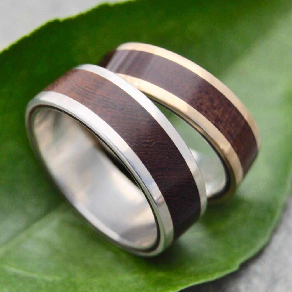 Lados White Gold Nacascolo Wood Wedding Ring, Recycled 14 Exterior & Sterling Silver Inner Band Ring
