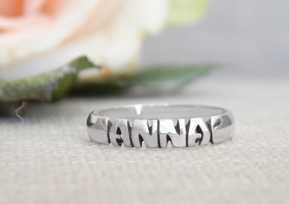 Name Ring - Sterling Silver Custom Personalized 5mm, 7mm & 10mm Bands Stackable Hand Carved Made