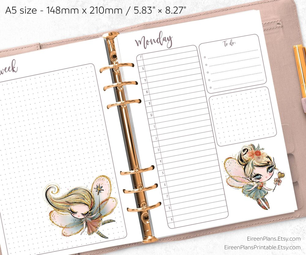 Cute Fairies - Printed Daily A5 Planner Inserts With Monthly Calendar & Weekly Overview, 1 Day On A Page, Skin & Hair Tone Options, Ff
