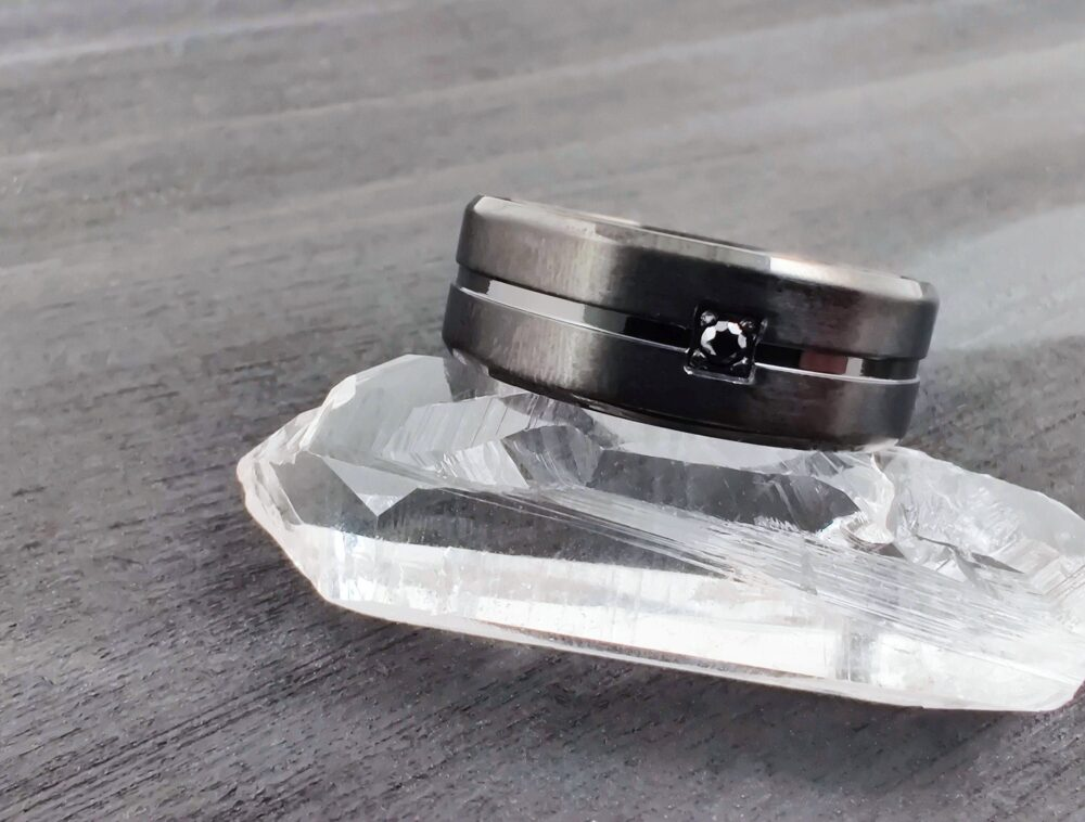 Elegant Black Cz Stainless Steel Band Ring, Comfort-Fit Men's Wedding Hypoallergenic Contemporary Minimal Ring For Him