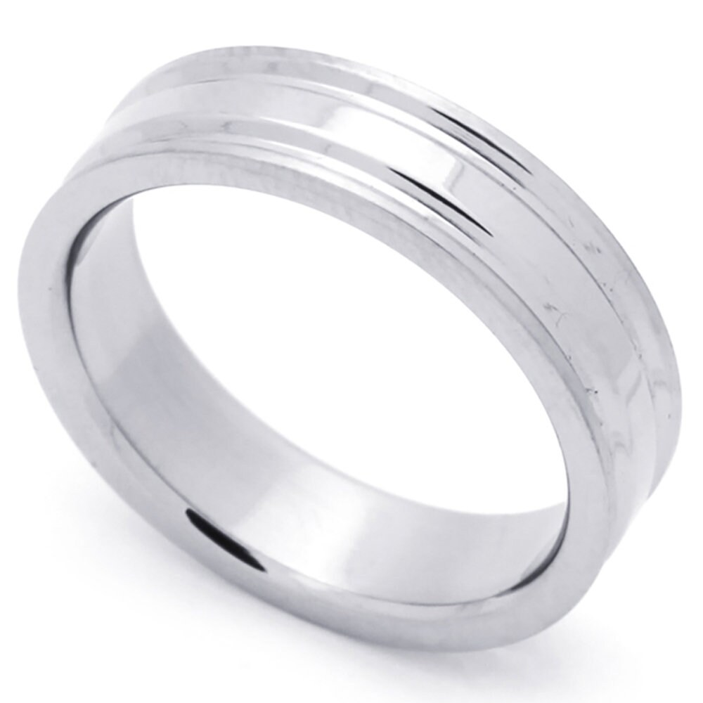 Custom Engraving Men Women Fashion 6mm Stainless Steel Ring Grooved Wedding Band Ring(Dctrss074