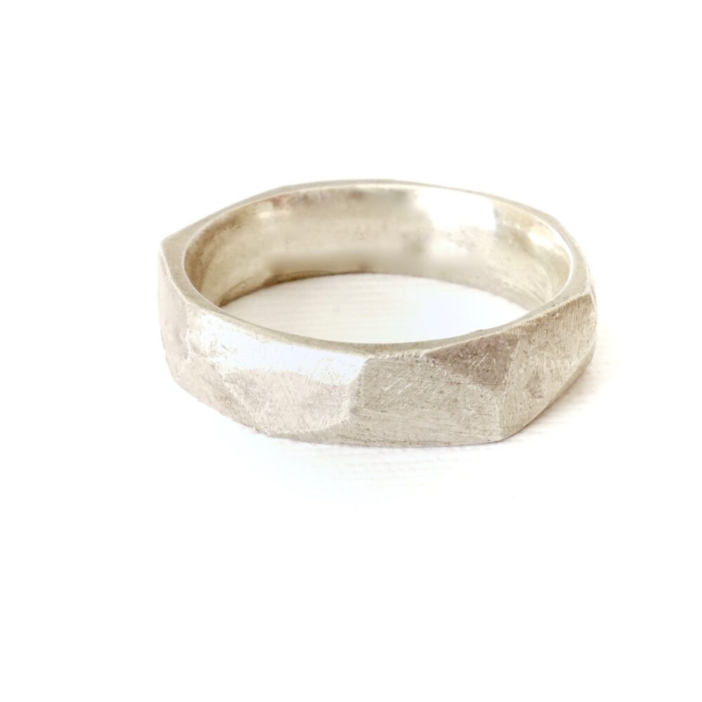 Faceted Silver Wedding Band, Hammered Band, Textured Mens
