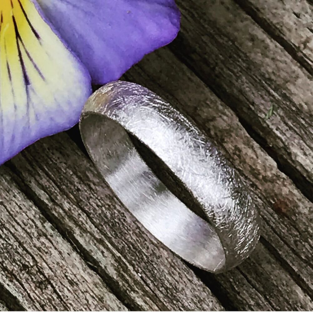 Argentium Sterling Silver Wedding Band, 4mm Half Round Unisex Men's Recycled Band - Custom Made For You