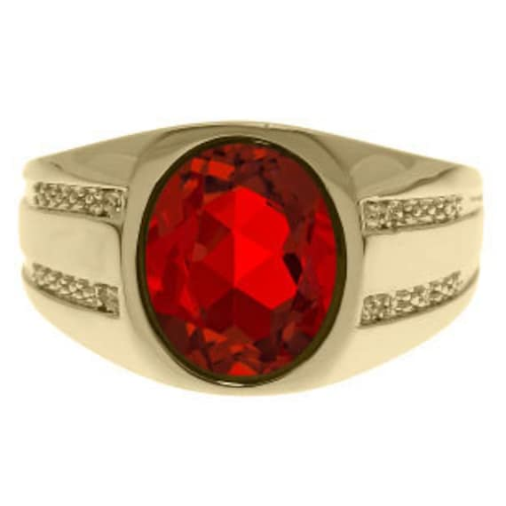 Oval-Cut Ruby Diamond Men's Ring in White Rose Yellow Black Gold Or Silver, July Birthstone Jewelry Men Gemstone Mens Unique Rings