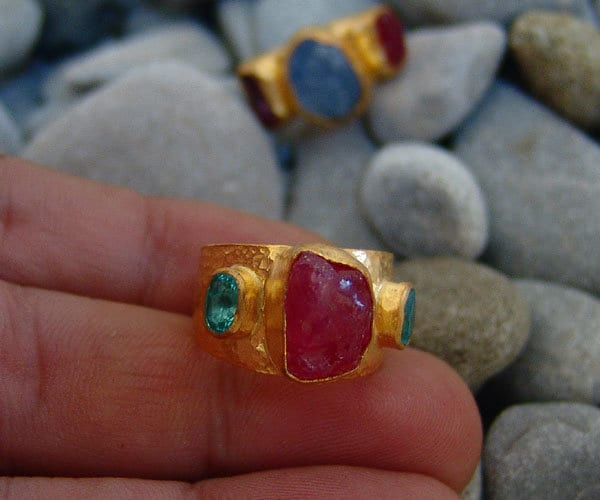 Sterling Silver 925K Gold Over 24K Handmade Three Stone Natural Rough Ruby & Apatite Hammered Band Ring Mothers Day