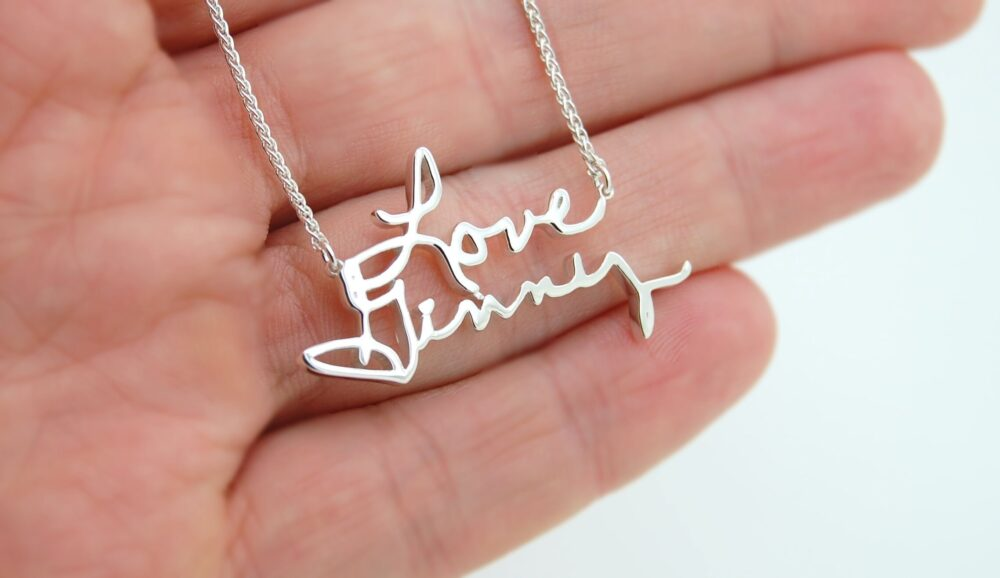 Signature Necklace, Memorial Jewelry, Name Jewelry Gift