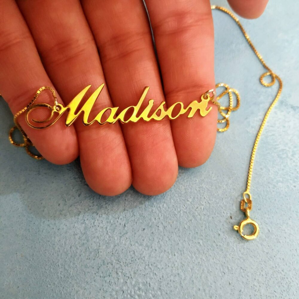 14K Gold Nameplate - Customized Name Cursive Necklace Pendant Solid Charm With Madison