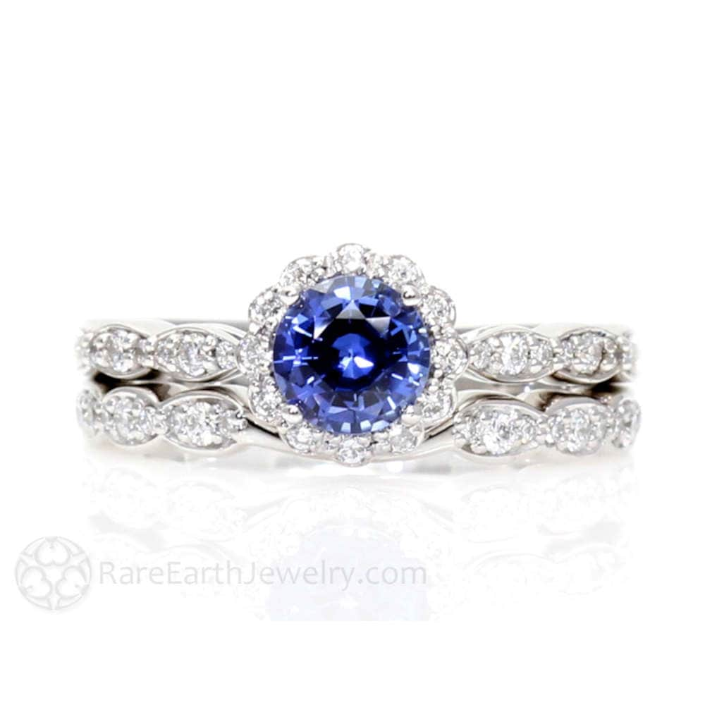 Blue Sapphire Engagement Ring Vintage Inspired With Diamond Halo Wedding Set Solid Gold Or Platinum September Birthstone