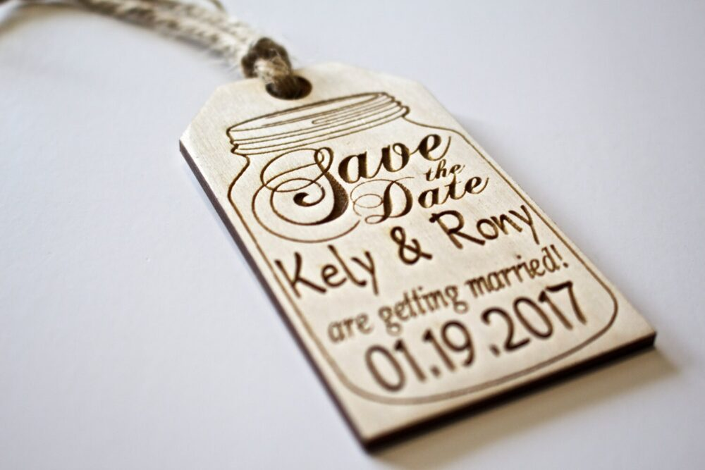 Save The Date, Wooden Hang Tag, Custom Mason Jar, Engraved, Tag With Twine, Wedding Favors, Jar Invitation, Rustic