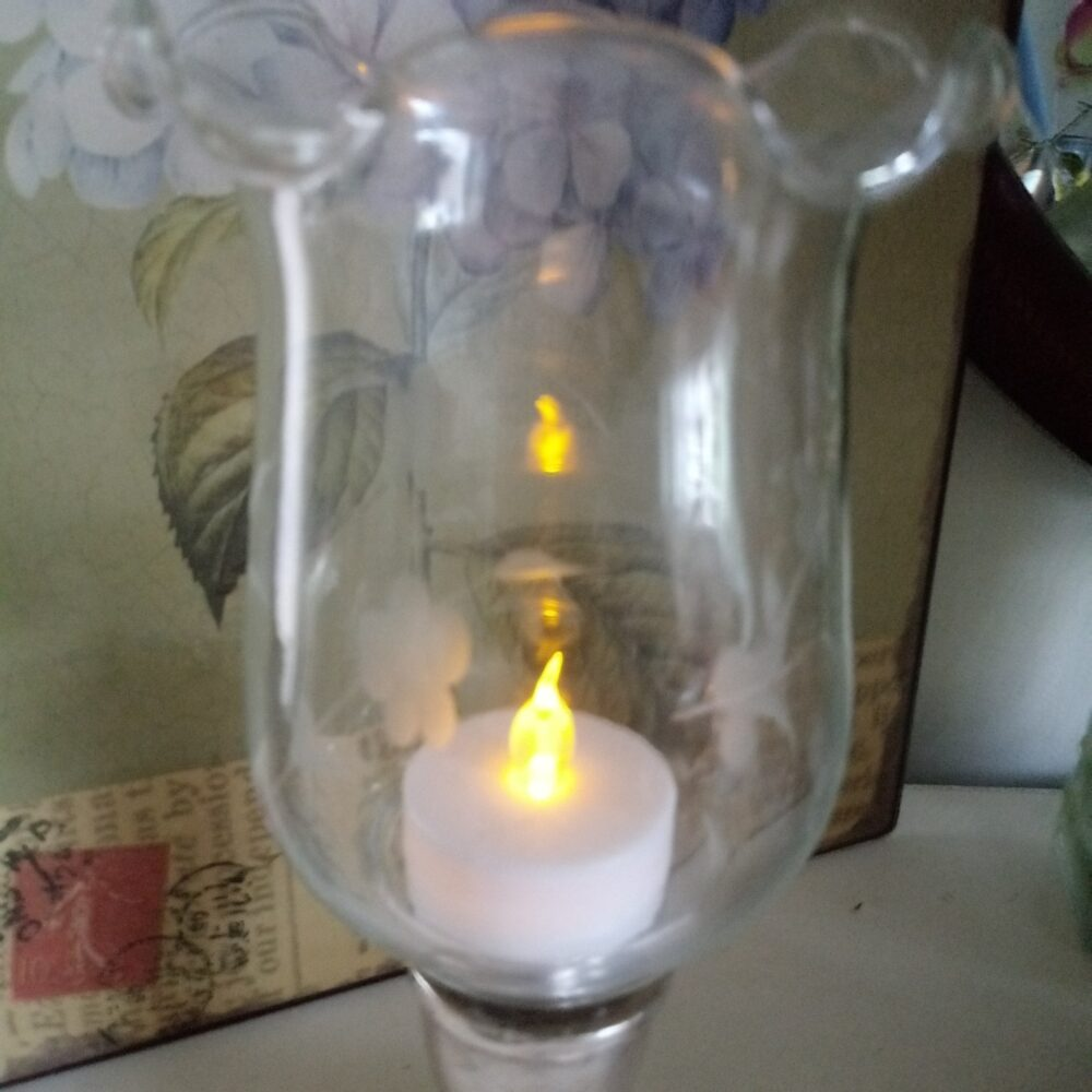 Etched Glass Candle Hurricane Votive