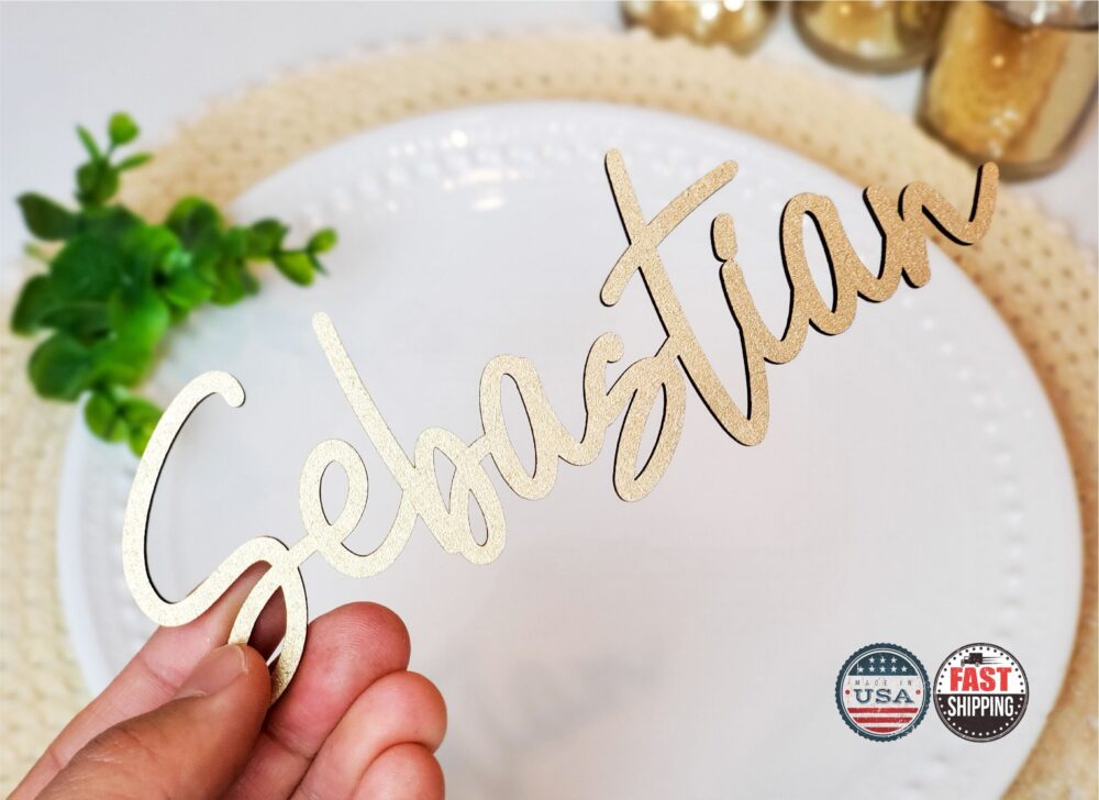 Wedding Name Place Card, Wood Acrylic Setting, Personalized Plates, Table Name, Laser Cut Names, Setting [119]