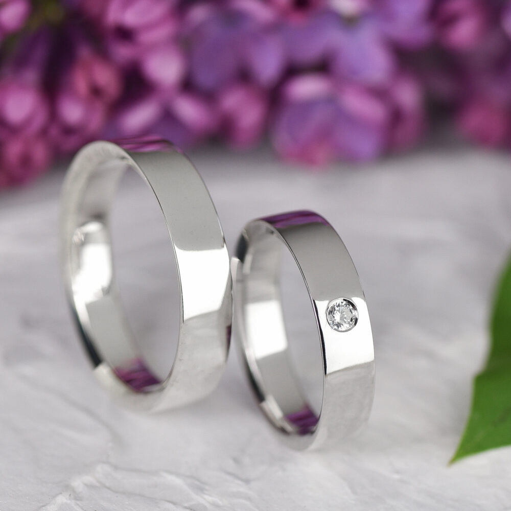 Simple Wedding Ring, Plain Cubic Zirconia Band, Couple Rings Set, Matching His & Her