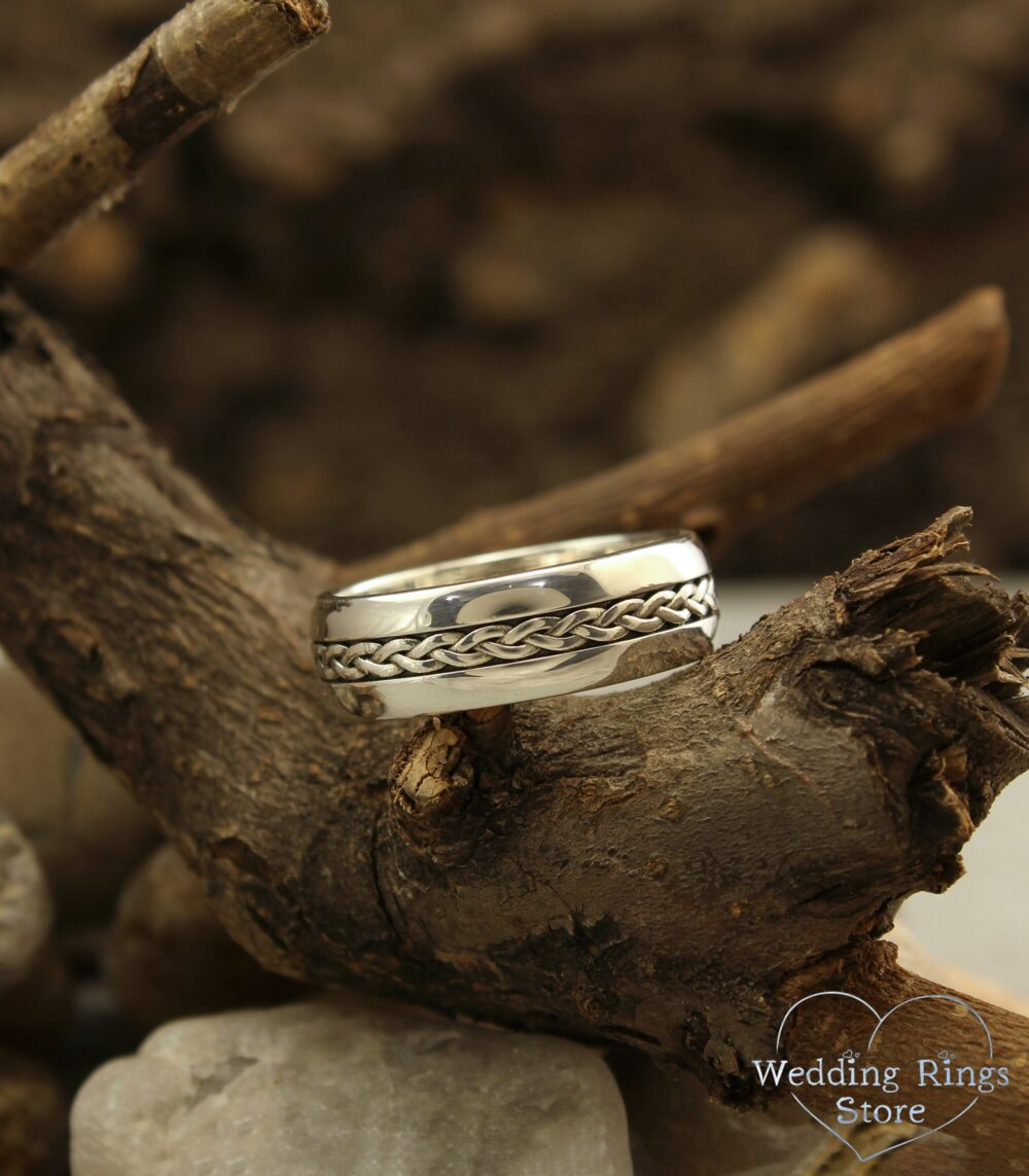 Braided Wedding Band in Sterling Silver, Unusual Ring Antique Style, Women's Wicker Band, Men's Twist Ring, 7mm