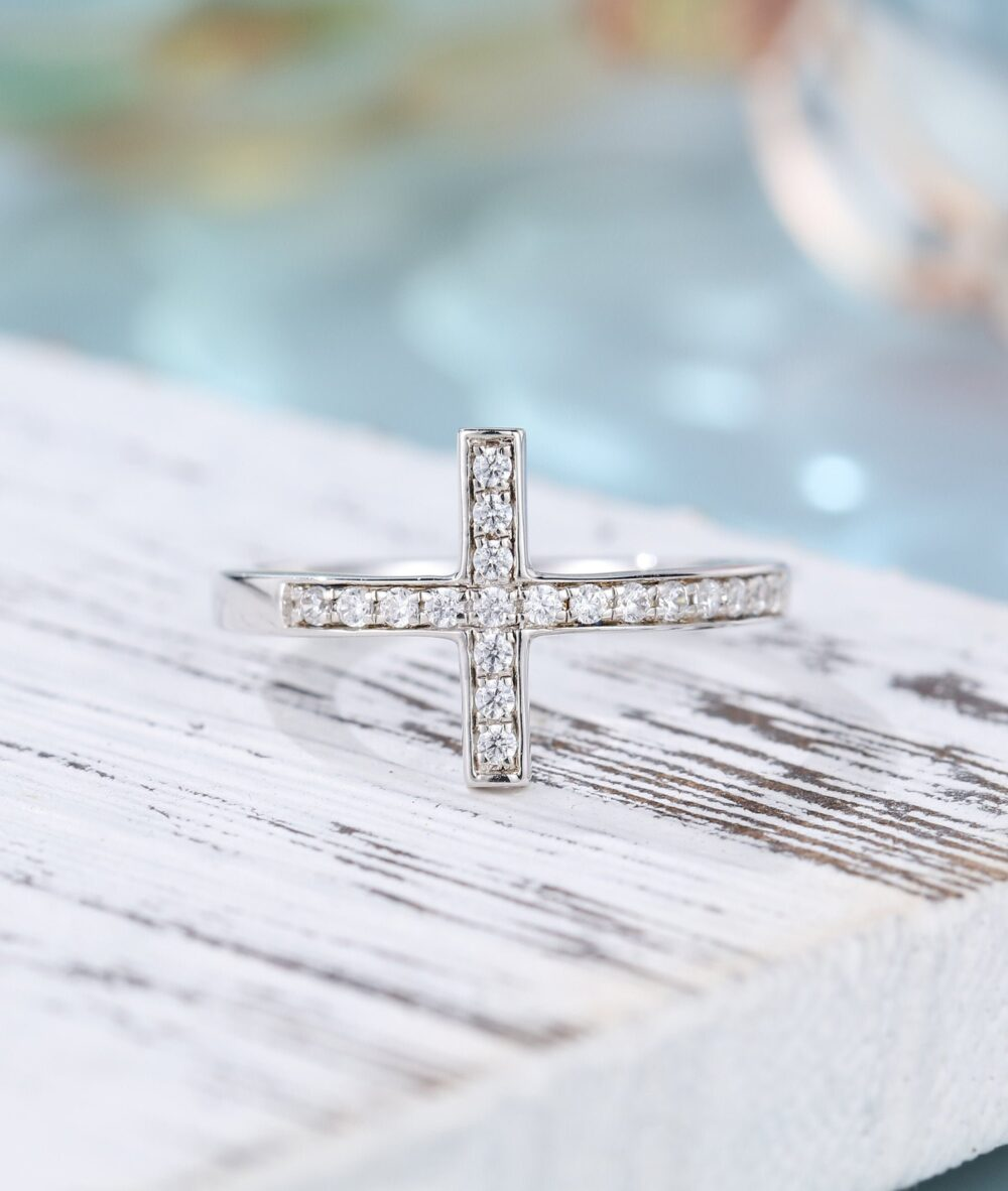 Sideways Cross Ring Cross Purity Ring Wedding Band Solid White Gold Christian Rings Unique Vintage Wedding Bridal Promise Band