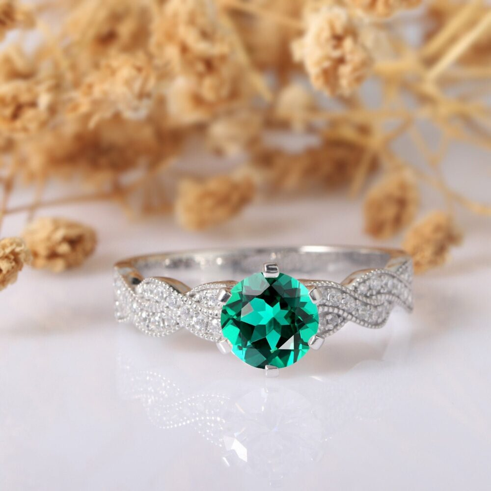 Emerald Ring, Round Cut 1Ct Engagement 14K White Gold Wedding Art Deco Promise Rope Style Cross Band Ring