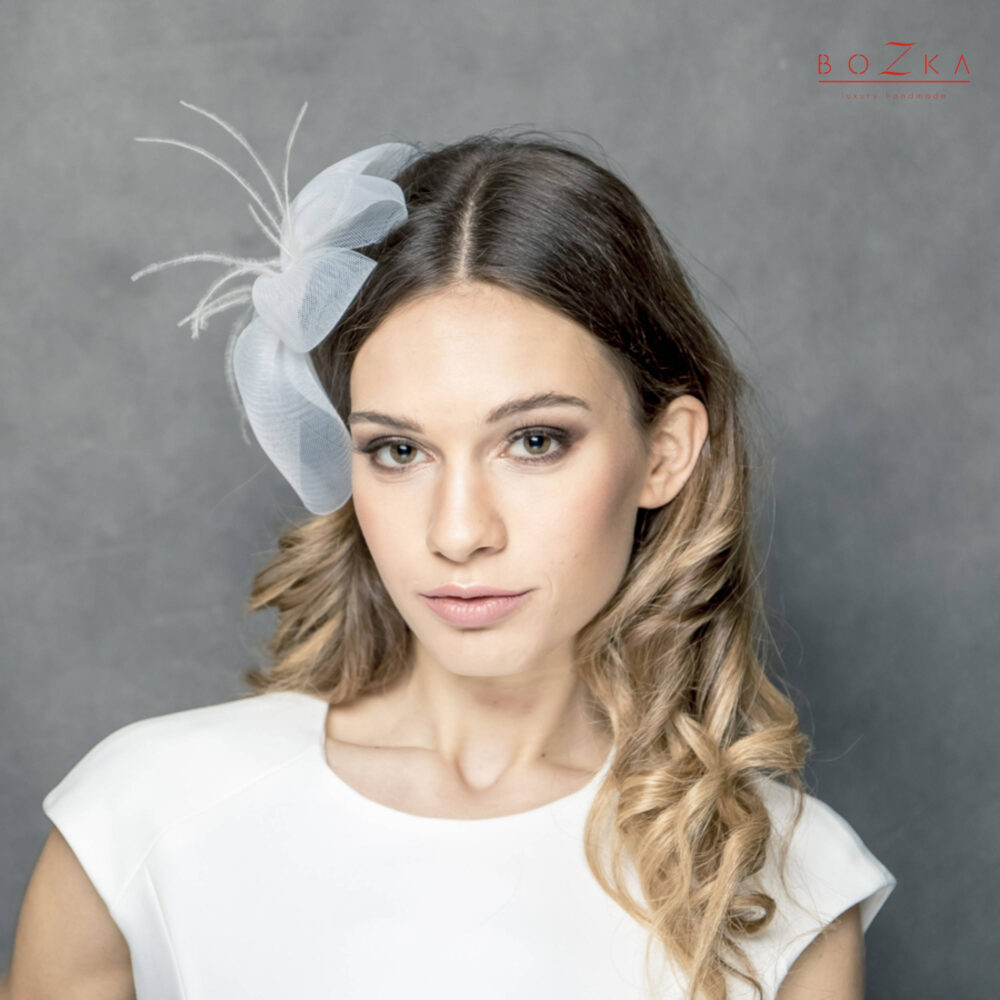 Crin Wedding Flower With Feathers, Bridal Comb, Fascinator Made Of Crin Delicate Feathers