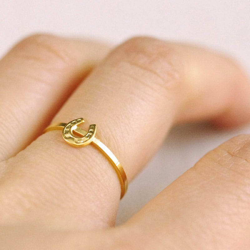 Tiny Horseshoe Ring // Silver Or Gold Filled . Stackable Lucky Stacking Dainty Delicate Equestrian Charm