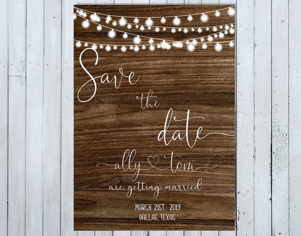 Rustic Save The Date Card, Wedding Wooden Date, Country Card
