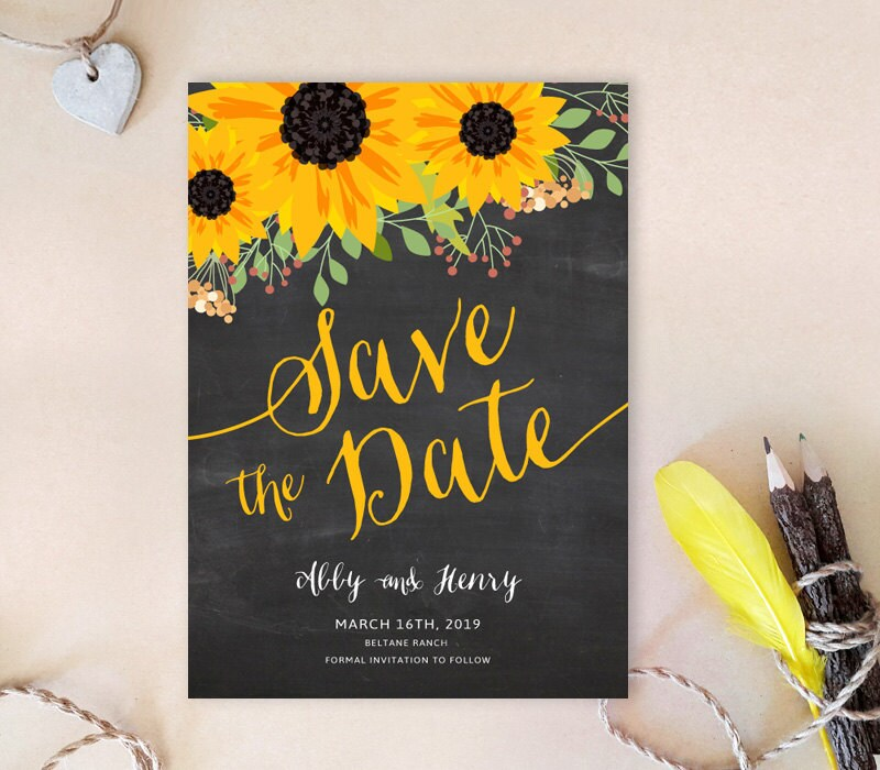 Sunflower Save The Date Cards Printed On Premium Cardstock   Chalkboard Sunflower Save Dates Country Wedding