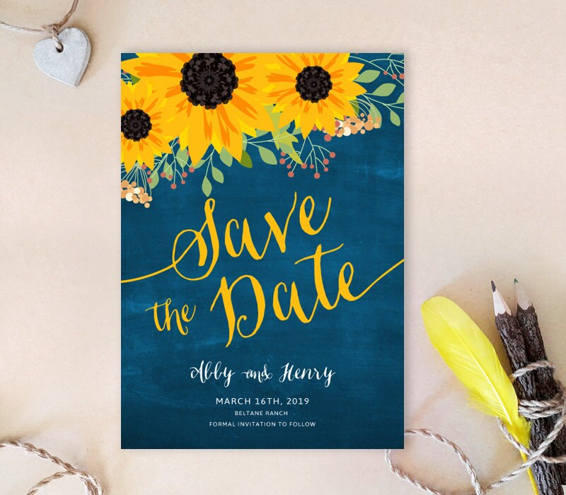 Printed | Sunflower Save The Dates Rustic Save Date Cards Country Barn Wedding Royal Blue