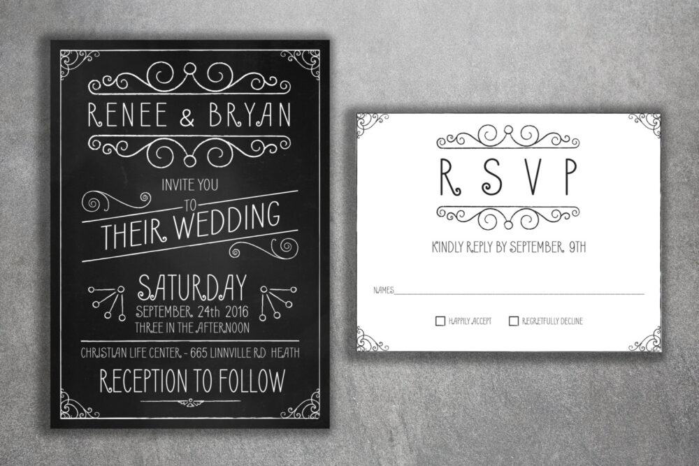 Affordable Wedding Invitations Set Printed, Cheap Chalkboard Invitations, Affordable, Black & White, Rustic, Vintage, Country