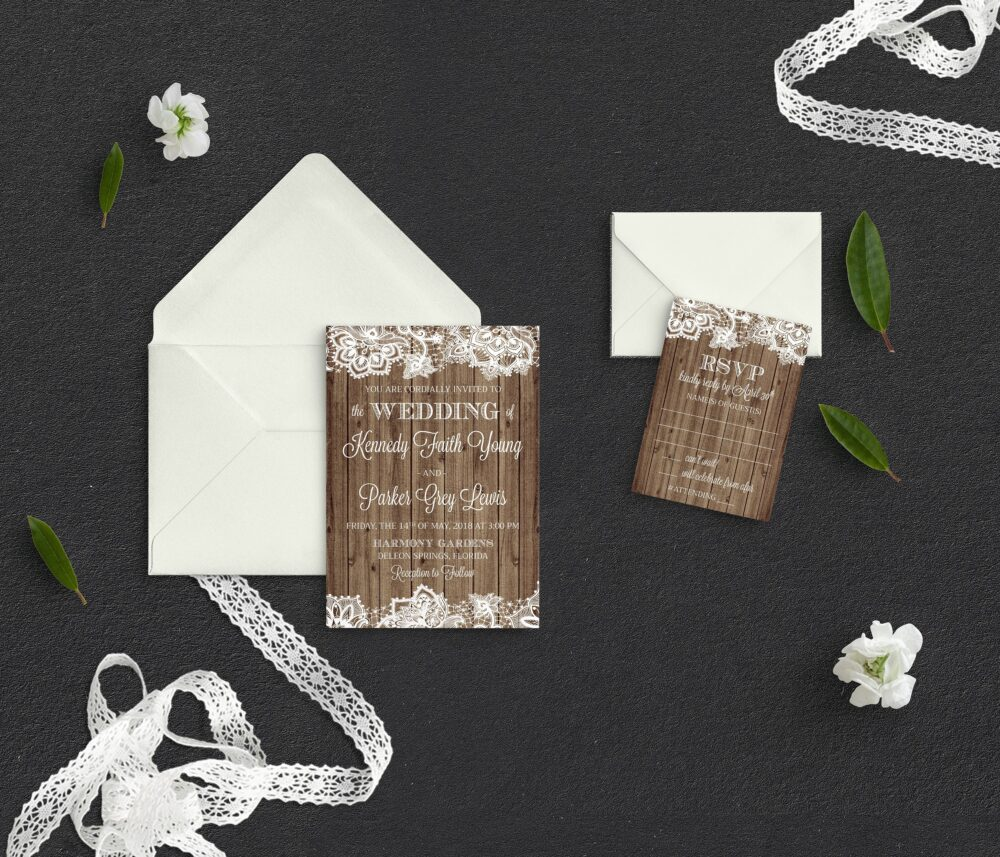 Rustic Wedding Invitations, Lace Wooded Country Wedding, Style