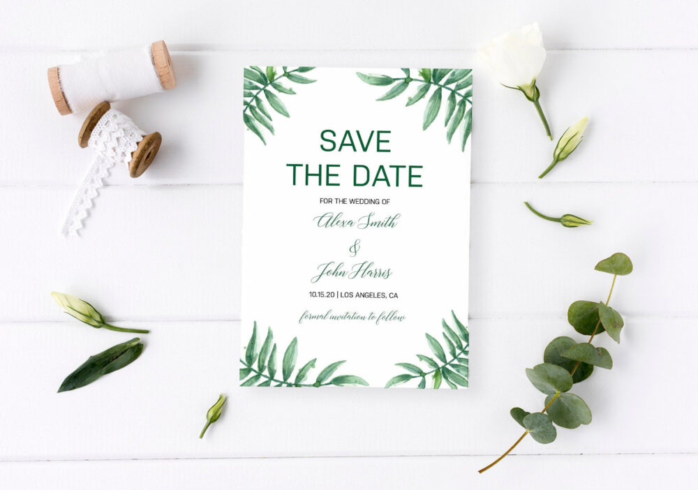 Save The Date Cards, Greenery Date, Save Date Rustic, Personalized, Our Date, Wedding Invitation, Invitation Sets