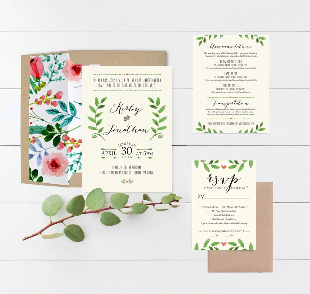 Gorgeous Rustic Watercolor Wedding Invitation Suite The Kirby Collection