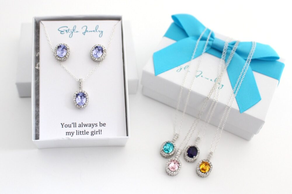 Bride Wedding Gift For Daughter, Lavender Swarovski Earrings, Small Earring & Necklace Set, Jewelry To From Mother Of The