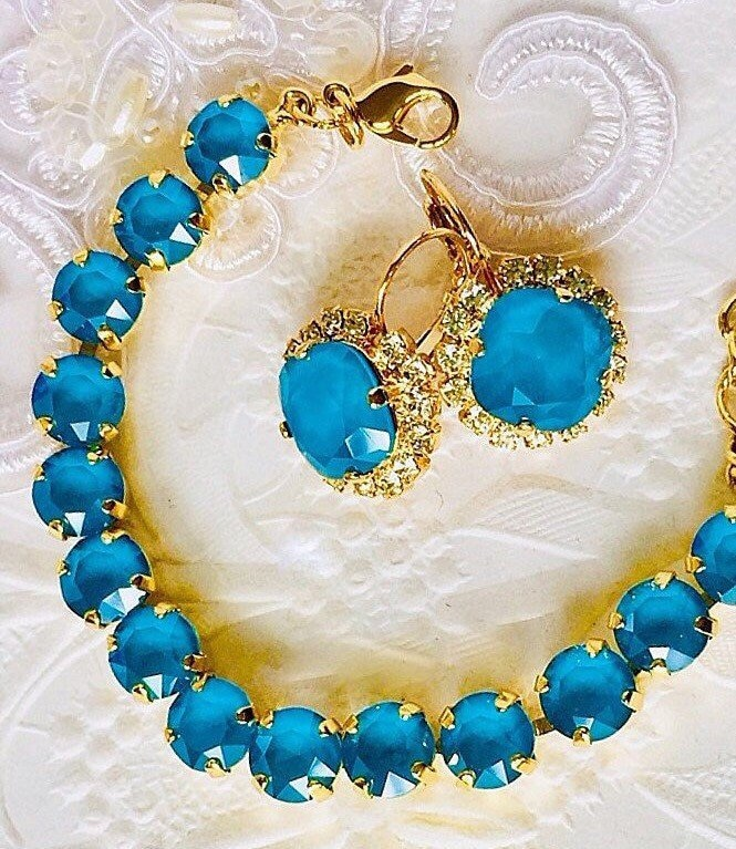 Bridesmaid Wedding Jewelry Set, Gorgeous Azure Blue Earrings, Matching Bracelet, Aaa Swarovski Crystals & Czs, Tropical Jewelry, Mother's Day